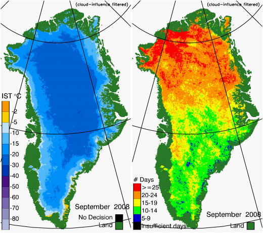 Greenland Surface Temp 09/2008