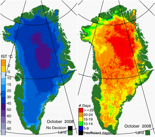 Greenland Surface Temp 10/2008