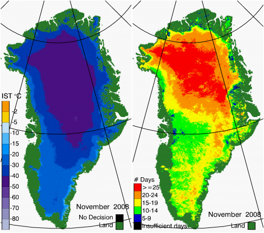 Greenland Surface Temp 11/2008