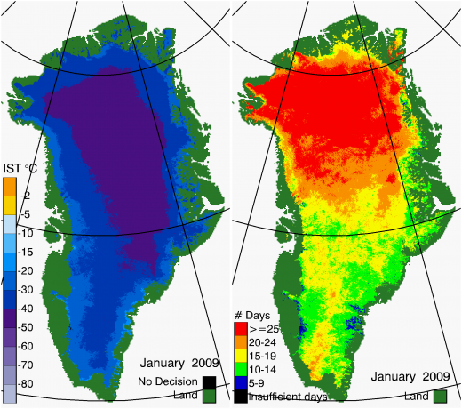 Greenland Surface Temp 01/2009