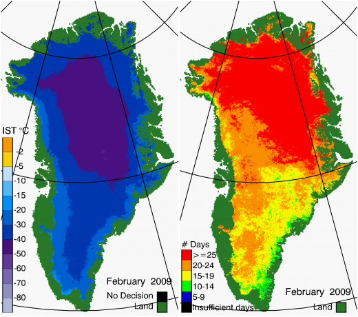 Greenland Surface Temp 02/2009