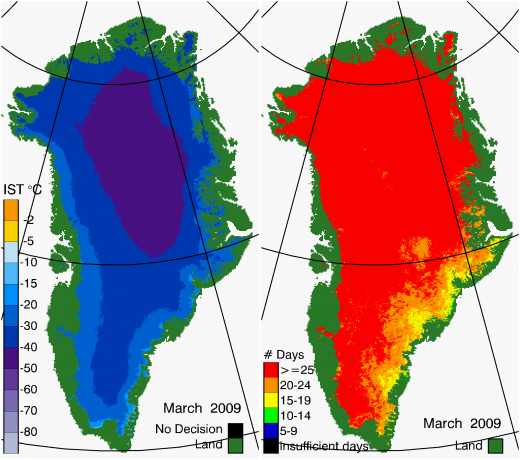Greenland Surface Temp 03/2009