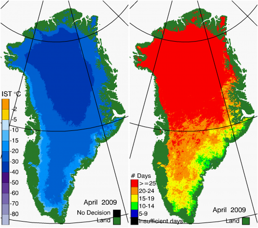 Greenland Surface Temp 04/2009