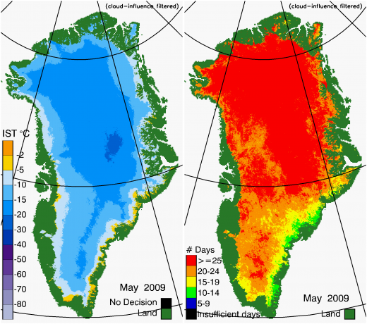 Greenland Surface Temp 05/2009