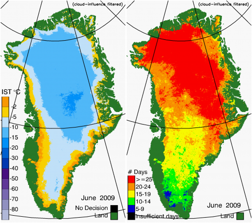 Greenland Surface Temp 06/2009