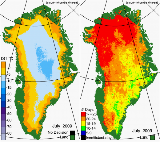 Greenland Surface Temp 07/2009