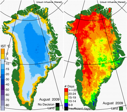 Greenland Surface Temp 08/2009