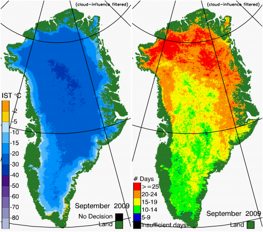 Greenland Surface Temp 09/2009