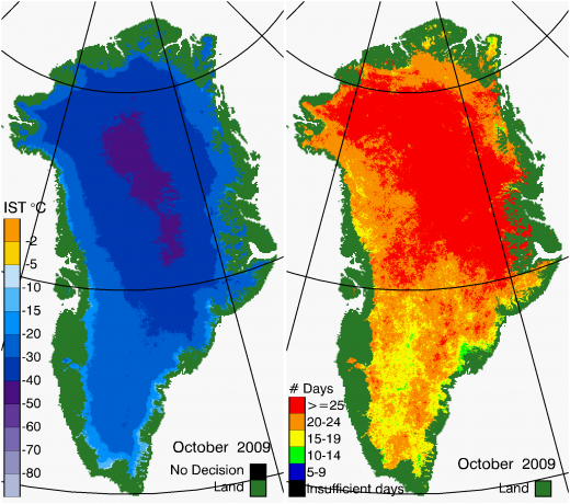 Greenland Surface Temp 10/2009