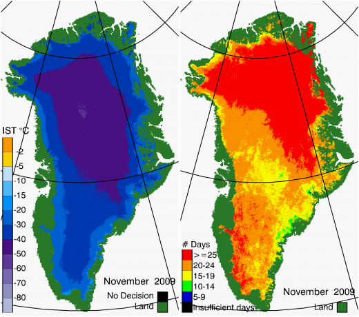 Greenland Surface Temp 11/2009