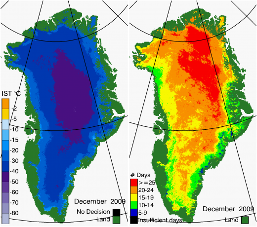 Greenland Surface Temp 12/2009