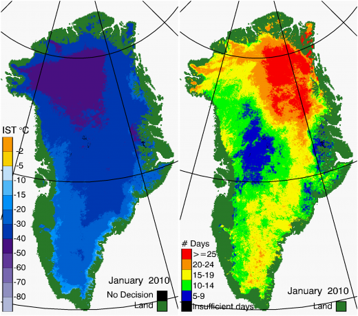 Greenland Surface Temp 01/2010