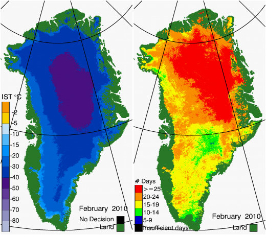 Greenland Surface Temp 02/2010