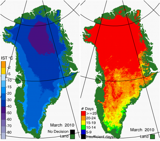 Greenland Surface Temp 03/2010