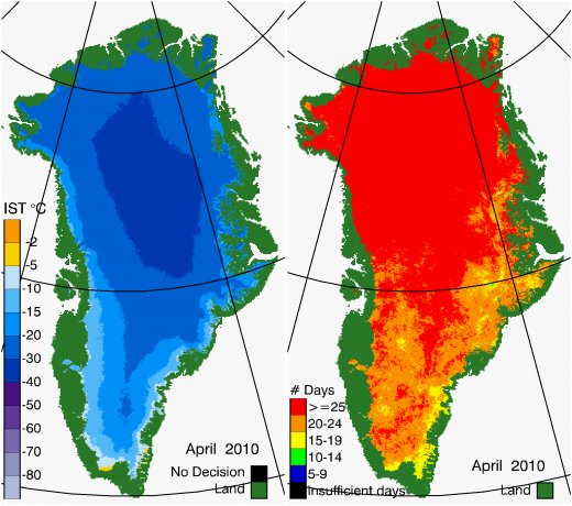 Greenland Surface Temp 04/2010