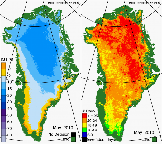 Greenland Surface Temp 05/2010