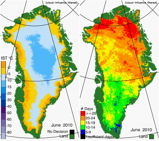 Greenland Surface Temp 06/2010