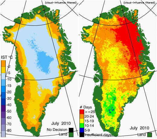Greenland Surface Temp 07/2010