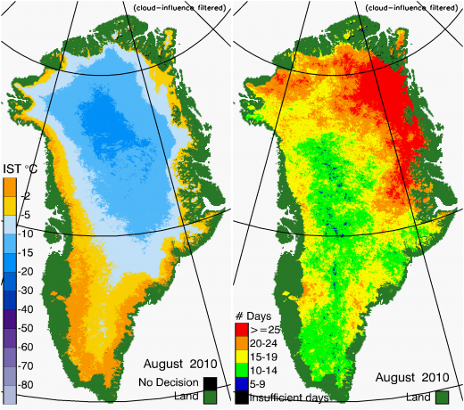 Greenland Surface Temp 08/2010