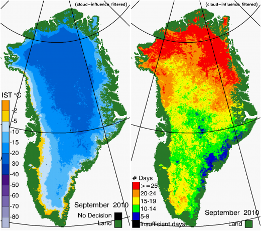 Greenland Surface Temp 09/2010