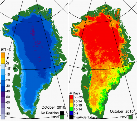 Greenland Surface Temp 10/2010
