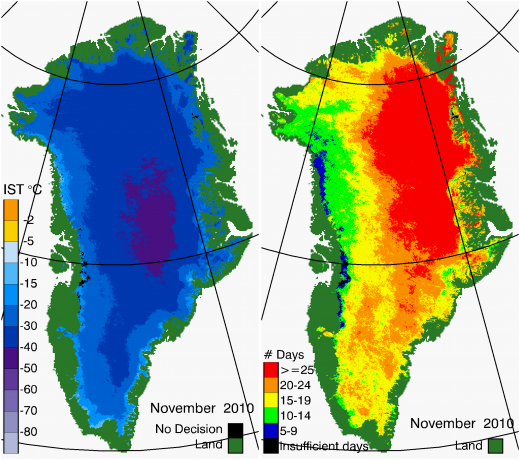Greenland Surface Temp 11/2010