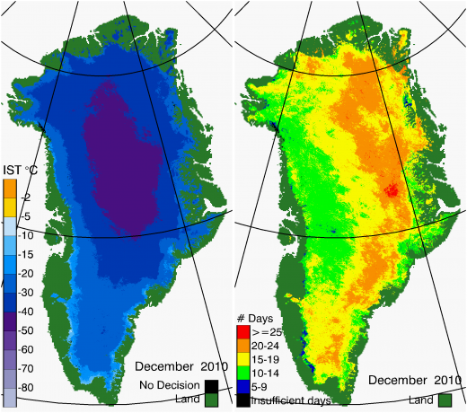 Greenland Surface Temp 12/2010