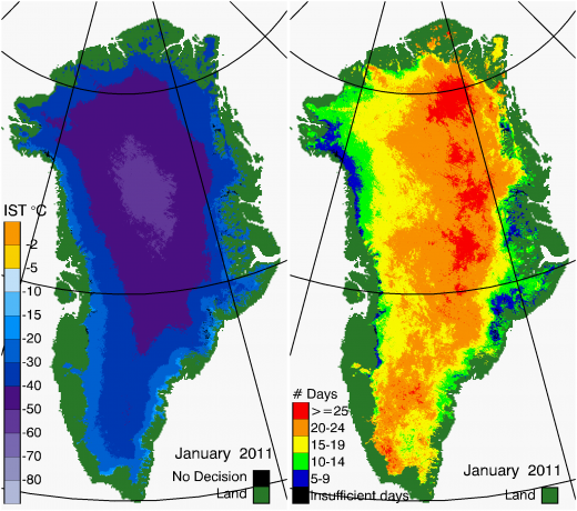 Greenland Surface Temp 01/2011