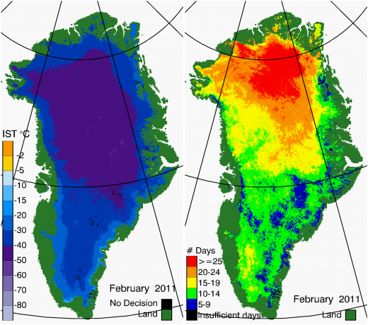 Greenland Surface Temp 02/2011