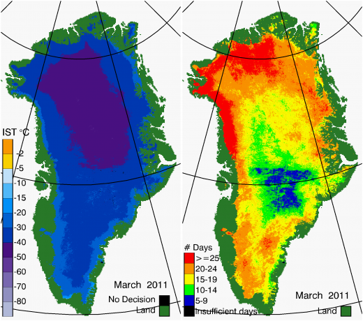 Greenland Surface Temp 03/2011