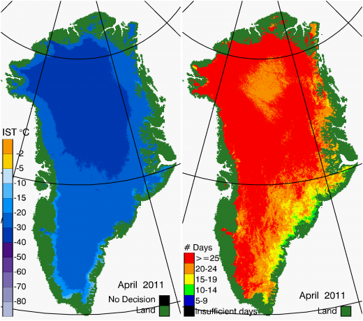 Greenland Surface Temp 04/2011