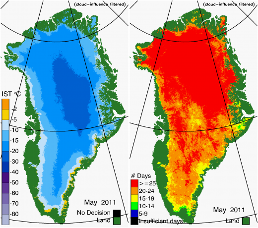 Greenland Surface Temp 05/2011