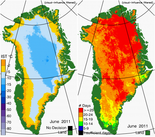 Greenland Surface Temp 06/2011