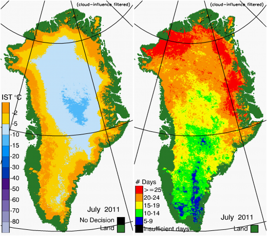 Greenland Surface Temp 07/2011