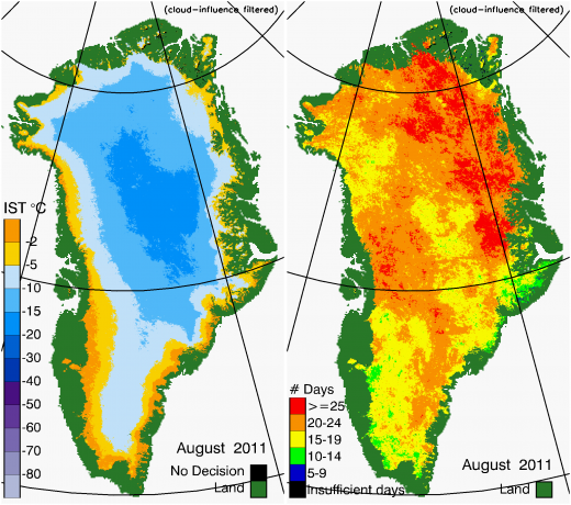 Greenland Surface Temp 08/2011