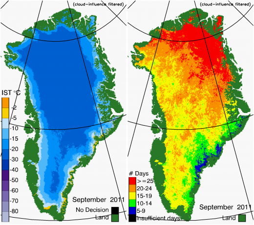 Greenland Surface Temp 09/2011