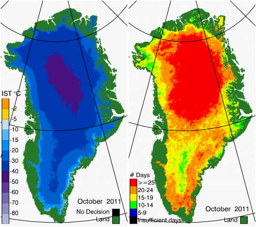 Greenland Surface Temp 10/2011