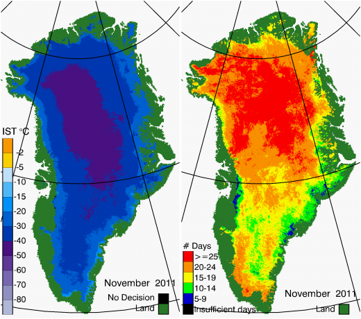 Greenland Surface Temp 11/2011