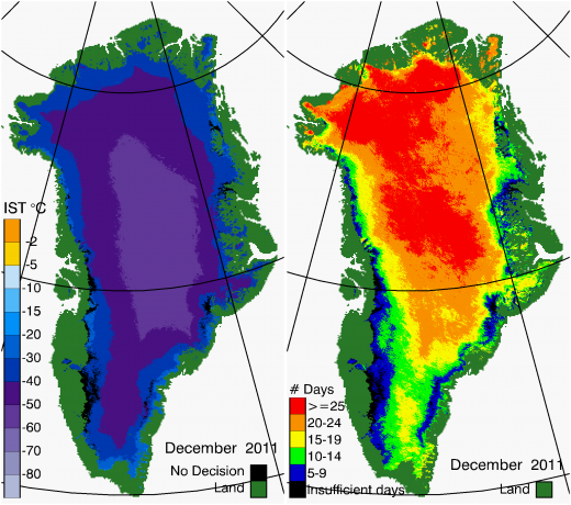 Greenland Surface Temp 12/2011