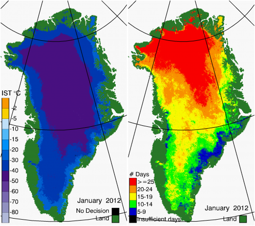 Greenland Surface Temp 01/2012