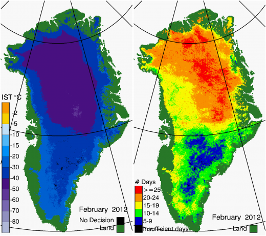 Greenland Surface Temp 02/2012