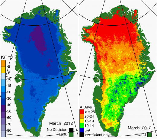 Greenland Surface Temp 03/2012