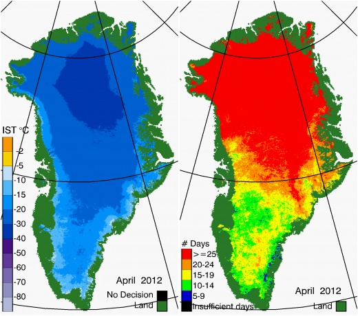 Greenland Surface Temp 04/2012