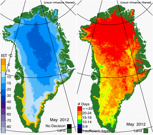 Greenland Surface Temp 05/2012