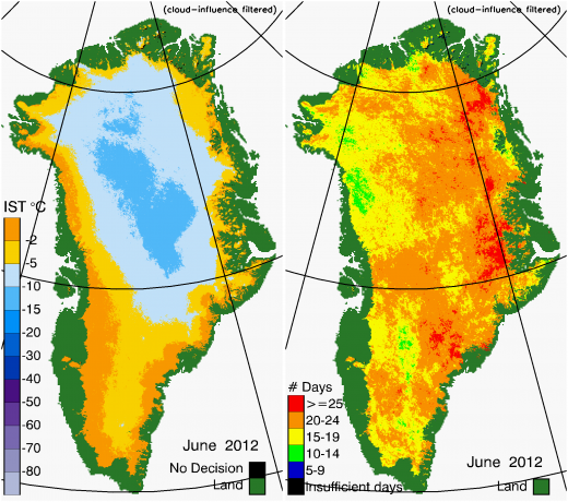 Greenland Surface Temp 06/2012