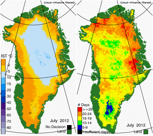 Greenland Surface Temp 07/2012