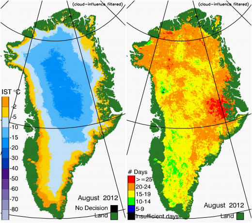 Greenland Surface Temp 08/2012