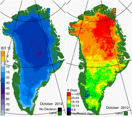 Greenland Surface Temp 10/2012