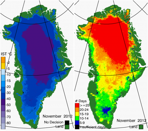 Greenland Surface Temp 11/2012