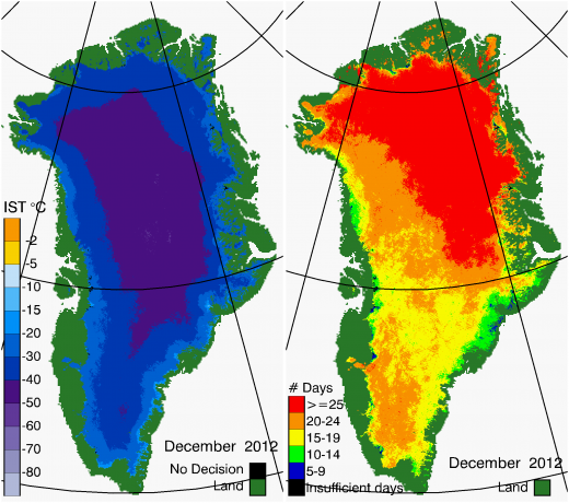 Greenland Surface Temp 12/2012